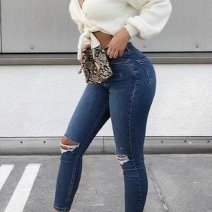 7 For Mankind Roxanne Skinny Ripped Knee Jeans